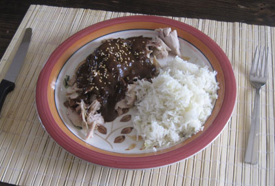 a plate of mole served over chicken