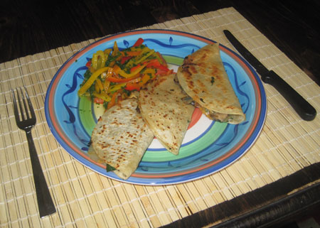 served quesadillas