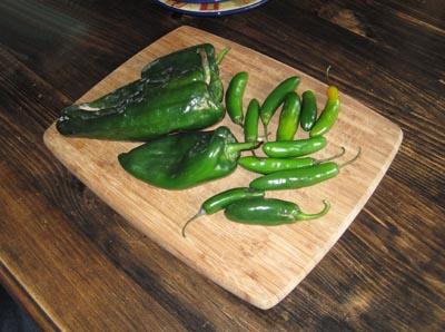 mexican chiles, serrano and poblano chiles