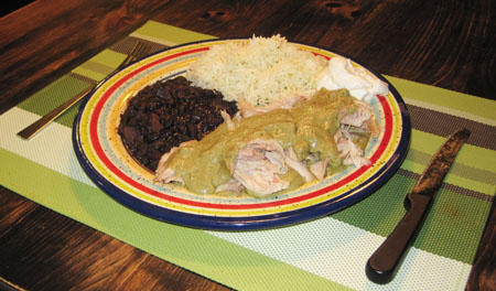 a plate of chicken with mole verde